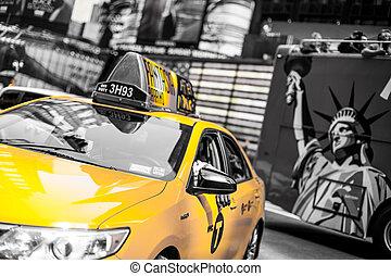 skwer, speeds, przez, taksówka, czasy, żółty, ny, usa., nowy york