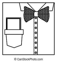 skwer, sylwetka, koszula, do góry, łuk, nuta, zamknięcie, krawat, brzeg, formalny