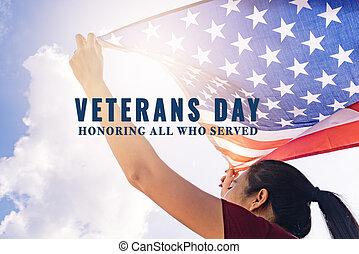 sky., wszystko, served., weterani, bandera, day., dzierżawa, słoneczny, honorowanie, zjednoczony, kobieta, stany, ameryka