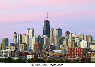 skyline., barwny, chicago