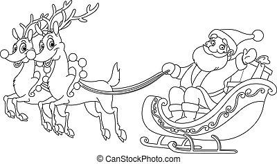 sleigh, konturowany, święty