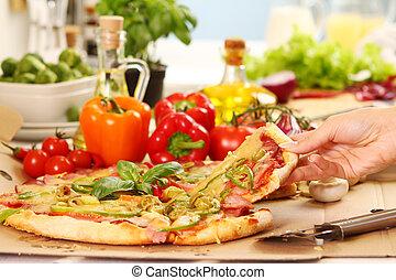 smakowity, świeży, pizza