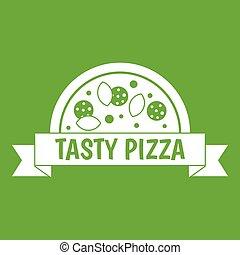 smakowity, ikona, zielony, pizza, znak