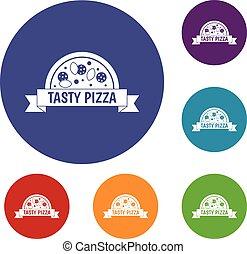 smakowity, komplet, znak, pizza, ikony