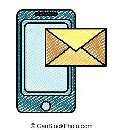 smartphone, elektronowy, doodle, e-wysyłają pocztą wiadomość, technologia