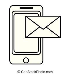 smartphone, elektronowy, e-poczta, kreska, technologia, wiadomość