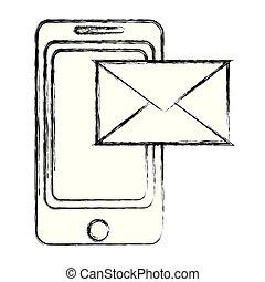 smartphone, grunge, technologia, e-wysyłają pocztą wiadomość, elektronowy