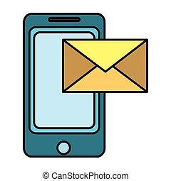 smartphone, kolor, elektronowy, e-wysyłają pocztą wiadomość, technologia