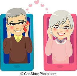 smartphone, miłość, senior