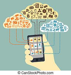 smartphone, ręka, związany, dzierżawa, służby, chmura
