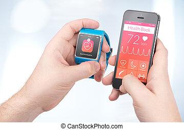 smartphone, siła robocza, smartwatch, synchronizacja, zdrowie, między, samiec, dane, książka