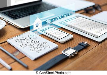 smartphone, tabliczka, do góry, laptop, pc, zamknięcie