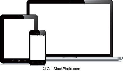 smartphone, tabliczka, mockup, laptop, tło, biały