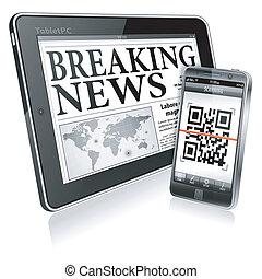smartphone, tabliczka, -, pc, pojęcie, cyfrowy, nowość