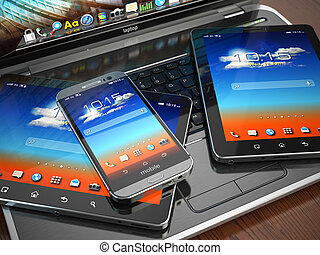 smartphone, tabliczka, ruchomy, laptop, pc., devices.