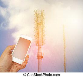 smartphone, telekomunikacja, antena, pękać, lekki, zamazany, radio, tło, dzierżawa ręka