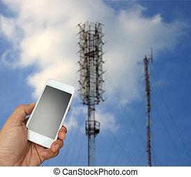 smartphone, telekomunikacja, antena, zamazany, radio, tło, dzierżawa ręka