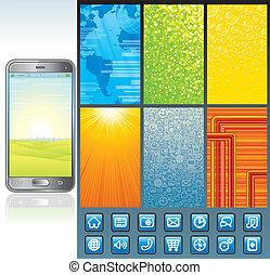 smartphone, wektor, projektować, kit., zbiór