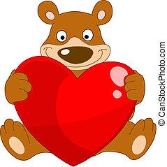 smiley, niedźwiedź, valentine