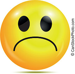 smiley, połyskujący, nieszczęśliwy, ikona