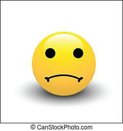 smiley, smutny, twarz