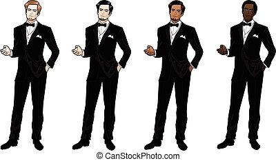 smoking, czarny człowiek, krawat, łuk
