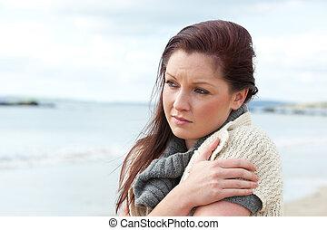 smutna kobieta, ocieplać, się