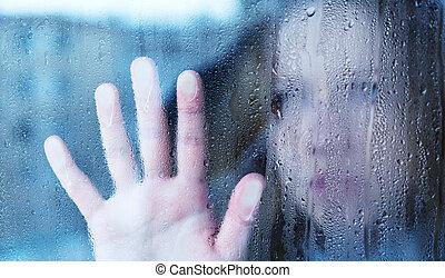 smutna kobieta, okno, deszcz, melancholia, młody