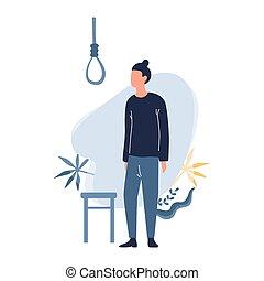 smutny, suicide., człowiek, myśleć, facet, o, przygnębiony