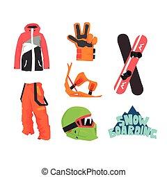 snowboarding, przybory, zbiór