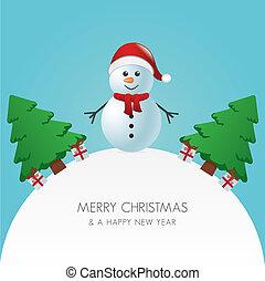 snowman kapelusz, drzewo, gwiazdkowy dar