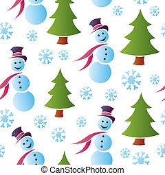 snowmen, seamless, śnieżny