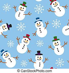 snowmen, seamless, śnieg