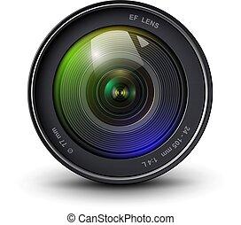 soczewka, aparat fotograficzny, 3d, ikona