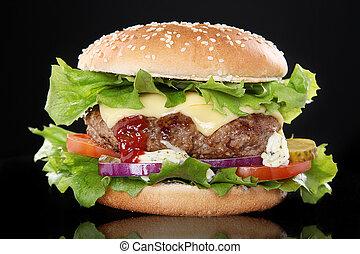 soczysty, hamburger
