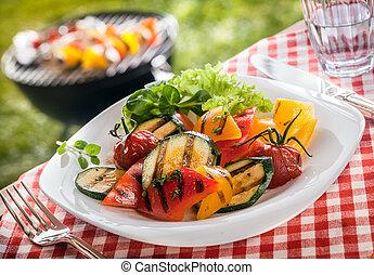 soczysty, służąc, wegetarianin, warzywa, upieczony, świeży