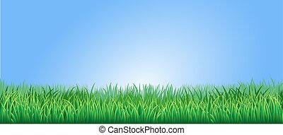 soczysty, trawa, zielony, ilustracja
