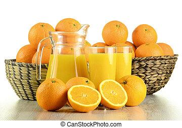 sok pomarańczowy, okulary, owoce