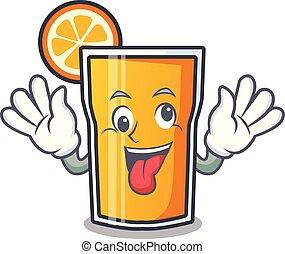 sok pomarańczowy, pomylony, rysunek, maskotka