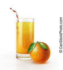 sok, słoma, floor., szkło, owoc, pomarańcza