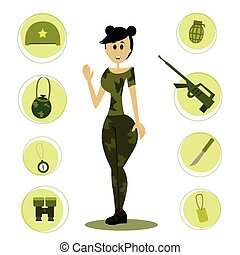 soldier., rysunek, samica