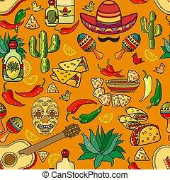 sombrero, pieprz, gitara, pattern., seamless, wektor, cactus.