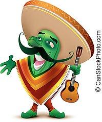 sombrero, poncho, meksykanin, zielony, kaktus