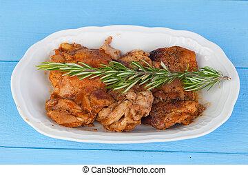 sos, kurczak, rozmaryn, gałązka, źródło