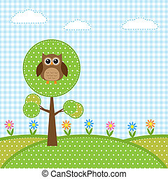 sowa, kwiaty, drzewo