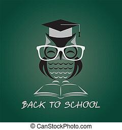 sowa, wizerunek, wektor, kolegium, kapelusz, książka, okulary