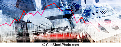 spadanie, czerwony, wzrost, tło., na dół, abstrakcyjny, strzała, wykres, handlowy