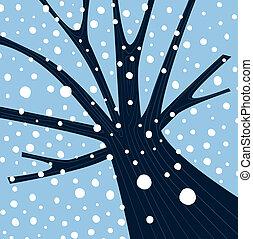 spadanie, drzewo zima, śnieg