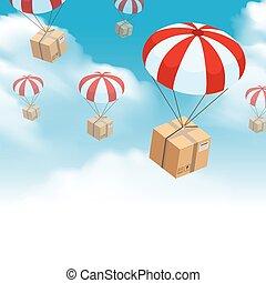 spadochron, doręczenie, paczka, skład