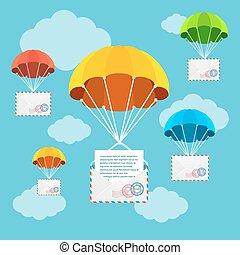 spadochron, doręczenie, wektor, poczta, sky.